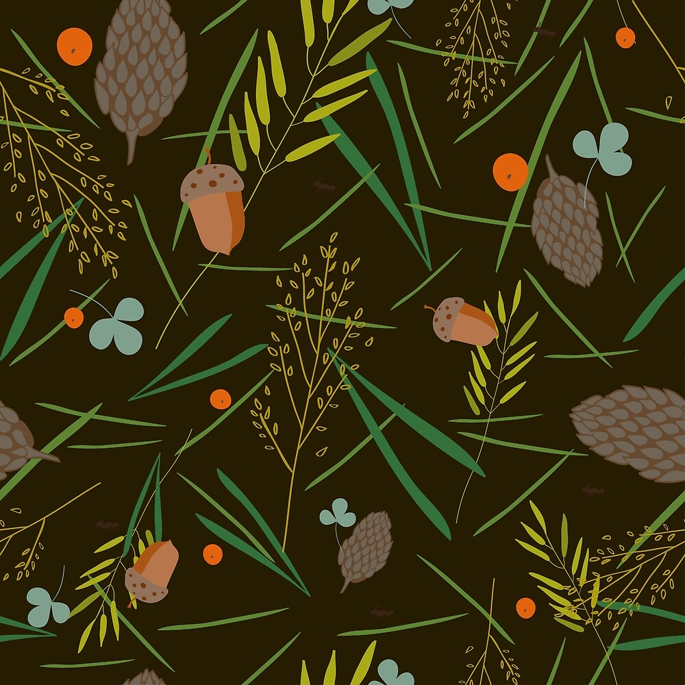 Pattern with the image of the forest cones, fir needles by margo-soleil