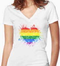 Rainbow Heart Pride Women's Fitted V-Neck T-Shirt