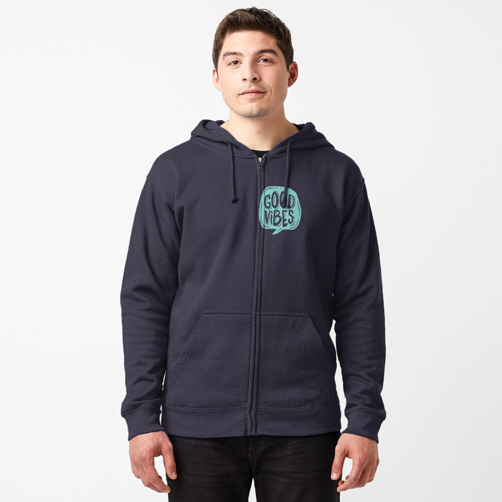 Good Vibes - Turquoise and purple Zipped Hoodie