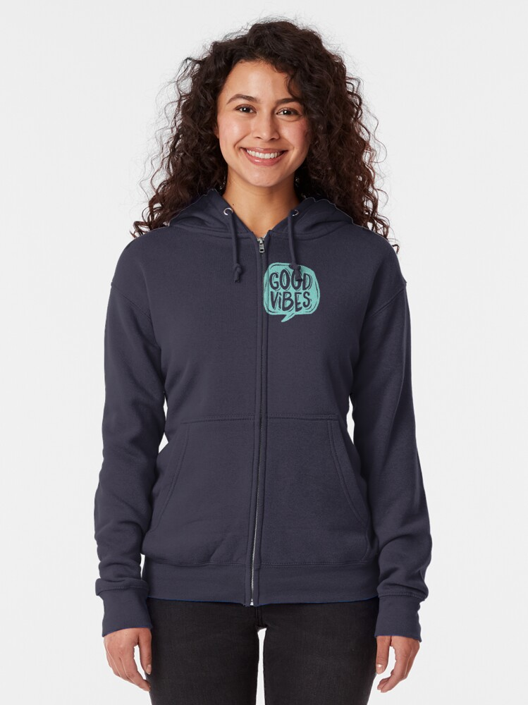 Alternate view of Good Vibes - Turquoise and purple Zipped Hoodie