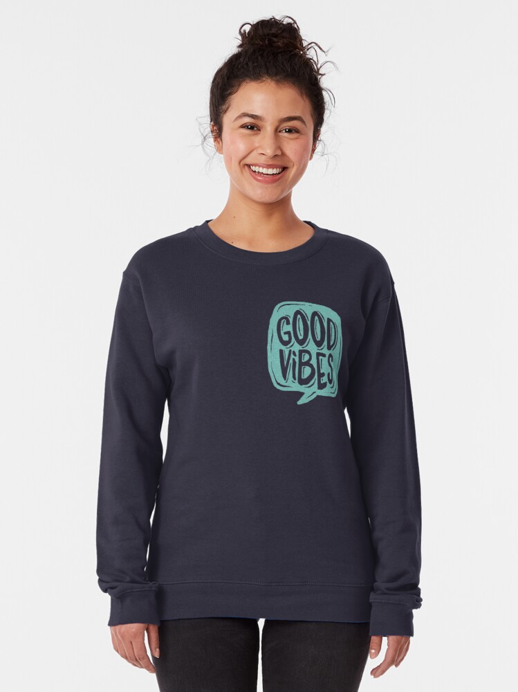 Alternate view of Good Vibes - Turquoise and purple Pullover Sweatshirt