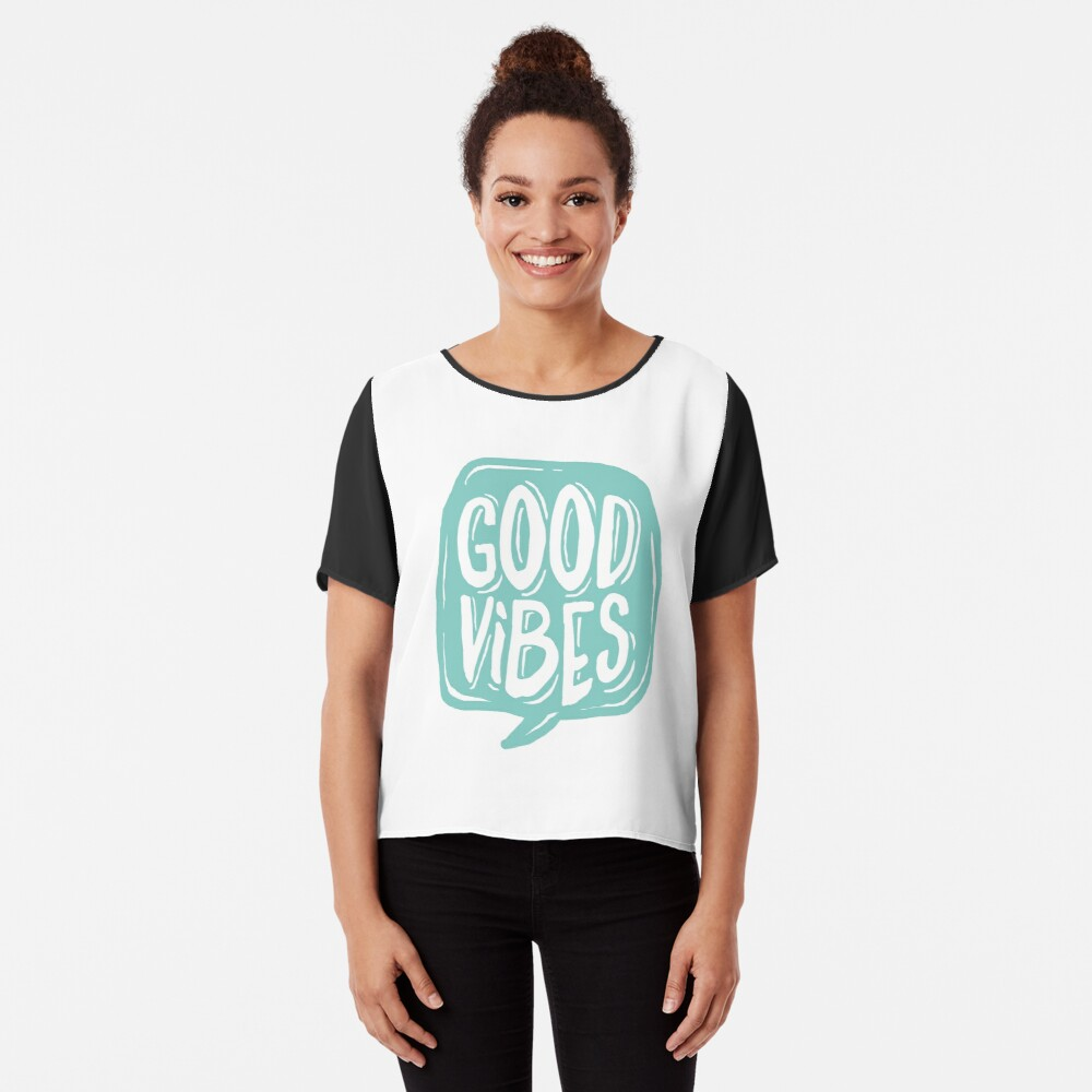 Good Vibes - Turquoise and white Chiffon Top
