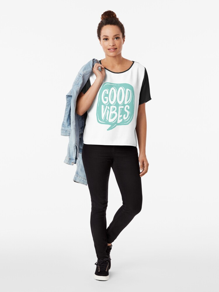 Alternate view of Good Vibes - Turquoise and white Chiffon Top