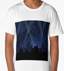 Night City. Starry Night Blue Sky. Sity Skyscrepers Long T-Shirt