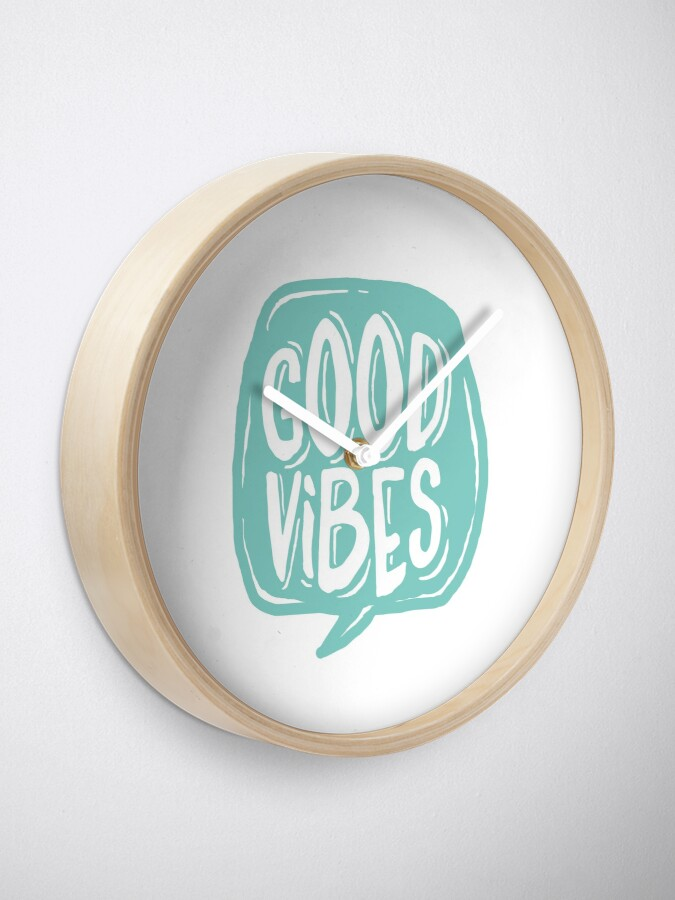 Alternate view of Good Vibes - Turquoise and white Clock