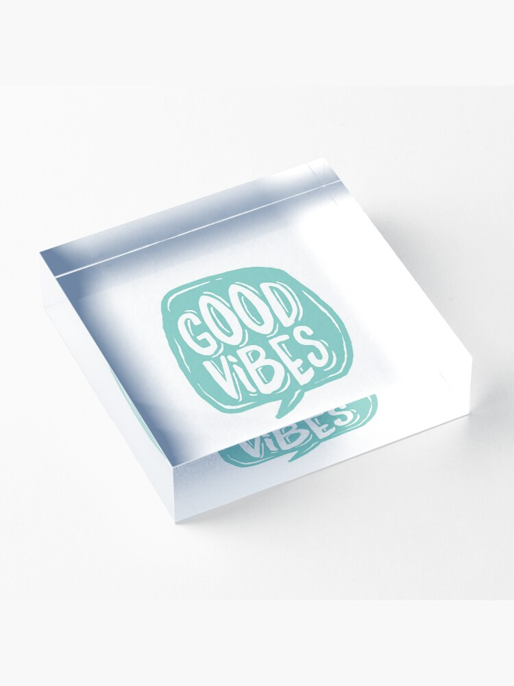 Alternate view of Good Vibes - Turquoise and white Acrylic Block