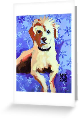 White Terrier with Blue Flowers by AMOpainting