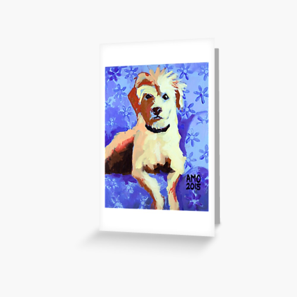 White Terrier with Blue Flowers Greeting Card