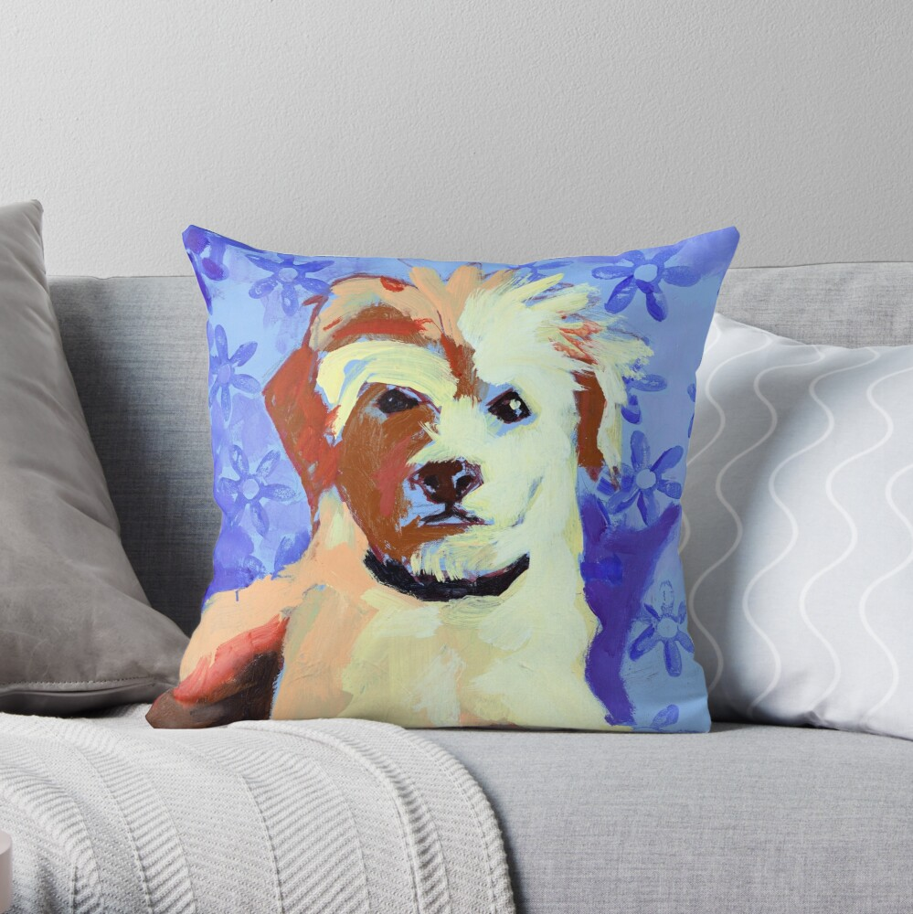 White Terrier with Blue Flowers Throw Pillow