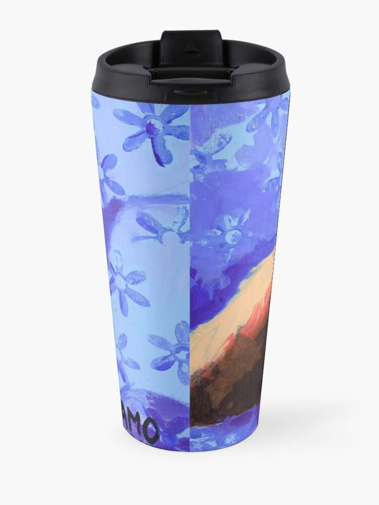Alternate view of White Terrier with Blue Flowers Travel Mug