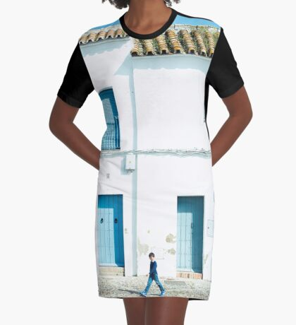 Weiße und blaue Stadt T-Shirt Kleid