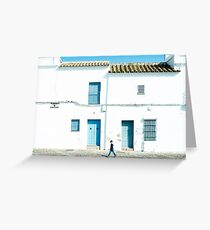White and blue town Greeting Card