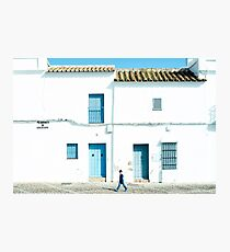 White and blue town Photographic Print