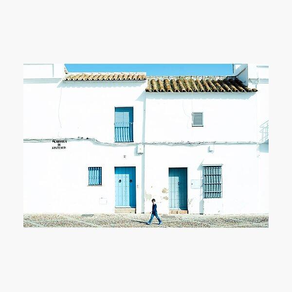 Pueblo blanco y azul Lámina fotográfica