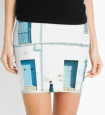 White and blue town Mini Skirt