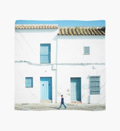 Weiße und blaue Stadt Tuch