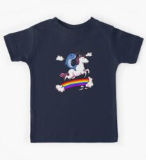 Narwhal Riding Unicorn Cartoon Colorful Rainbow  Kids Tee