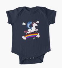 Narwhal Riding Unicorn Cartoon Colorful Rainbow  One Piece - Short Sleeve