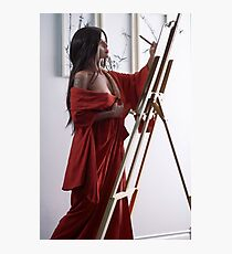 Asian woman sumi-e artist in red kimono painting in her studio artistic portrait art print Photographic Print