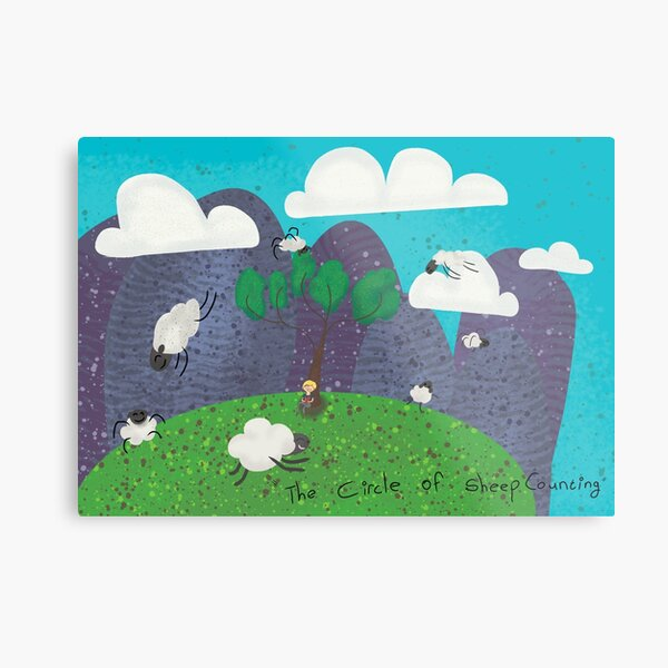Sheep counting. Metal Print