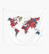 world map art 8 Wall Tapestry
