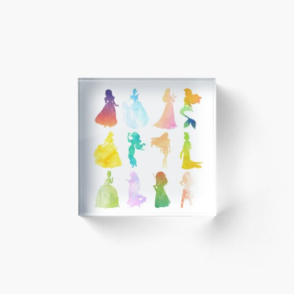 Princesses Watercolor Silhouette Acrylic Block
