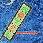 Neon Motel Sign and Moon by lisavonbiela