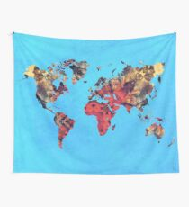 world map art 9 Wall Tapestry