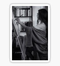 Black and white portrait of asian woman sumi-e artist in kimono with easel painting in her home studio art print Sticker