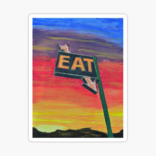 Roadside Diner Sign--Eat! Sticker
