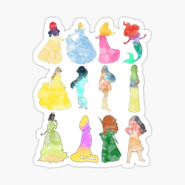 Princesas acuarela Pegatina
