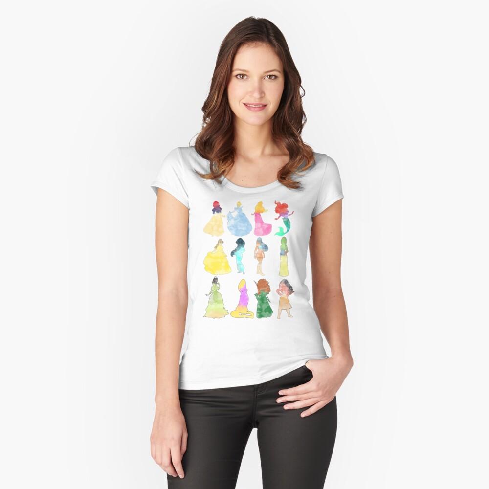 Prinzessinnen Aquarell Tailliertes Rundhals-Shirt