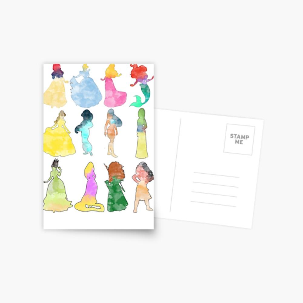 Prinzessinnen Aquarell Postkarte