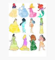 Princesses watercolor Photographic Print