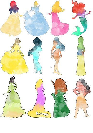 Princesses watercolor by Becca Cook