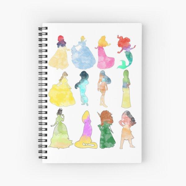 Princesses watercolor Spiral Notebook