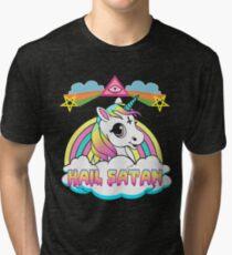 Unicorn hail satan death metal rainbown t-shirt Tri-blend T-Shirt