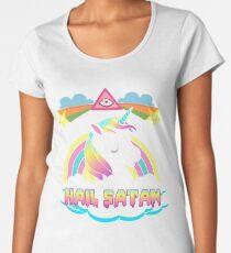 Unicorn hail satan death metal rainbown t-shirt Women's Premium T-Shirt