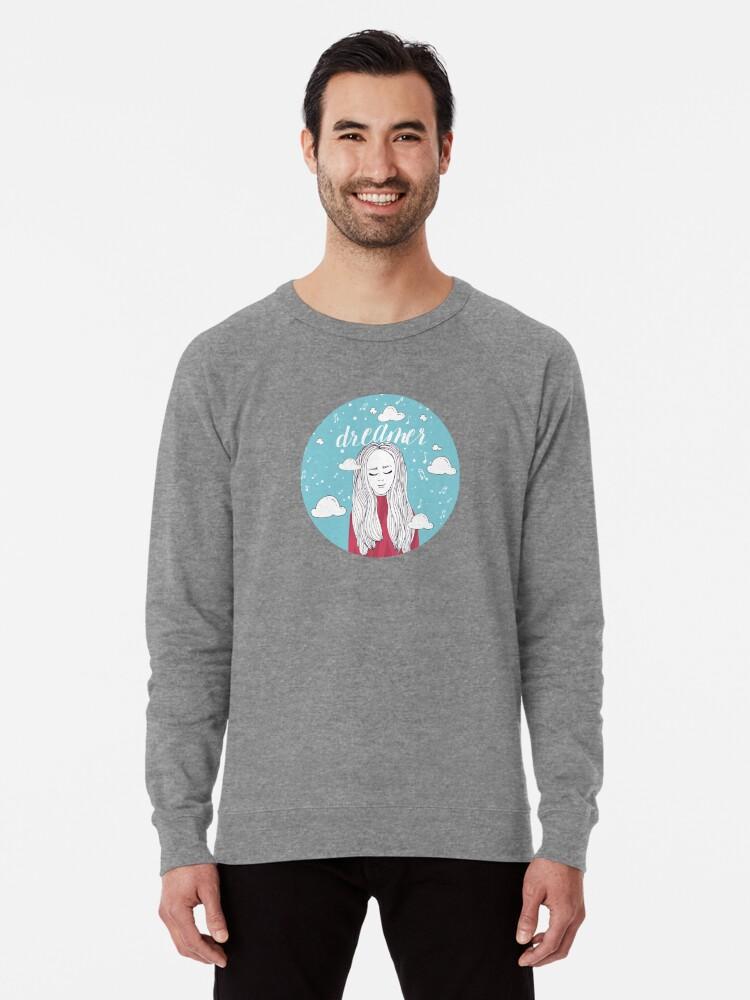 Alternate view of Dreamer Girl Illustration Lightweight Sweatshirt