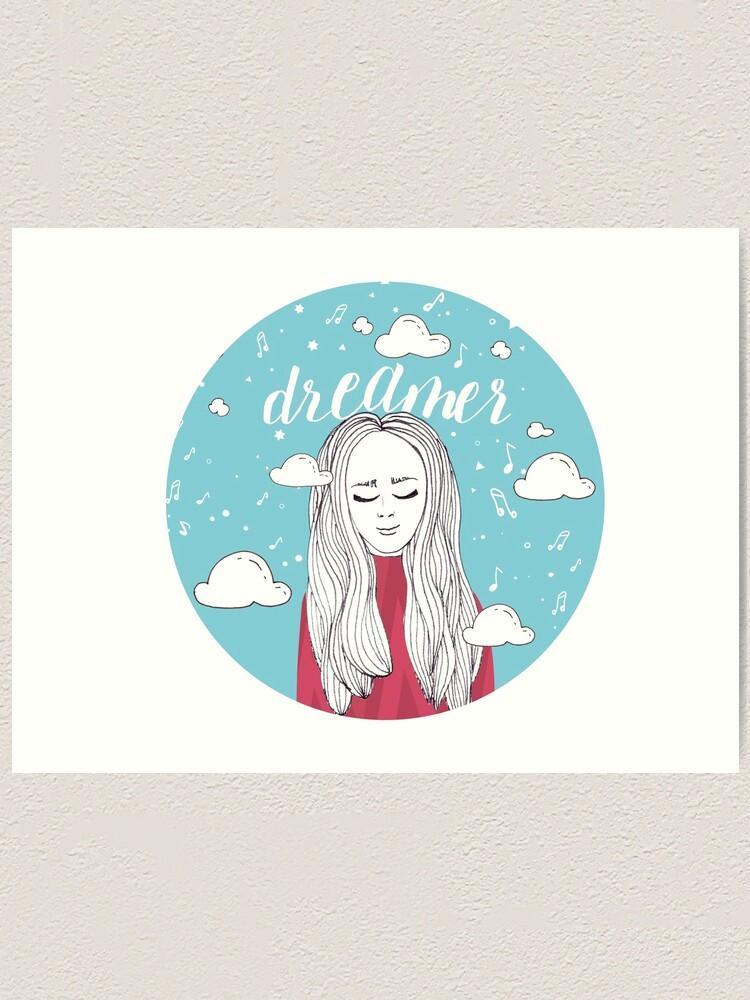 Alternate view of Dreamer Girl Illustration Art Print