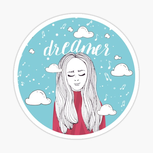 Dreamer Girl Illustration Sticker