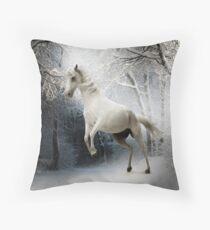 Rearing White Horse Winter Snow Scene Throw Pillow