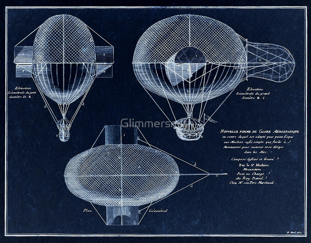 Vintage Steampunk blueprint, French Airship patent drawing from 1784 by Glimmersmith
