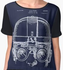 Vintage Welders Goggles blueprint detail drawing Chiffon Top