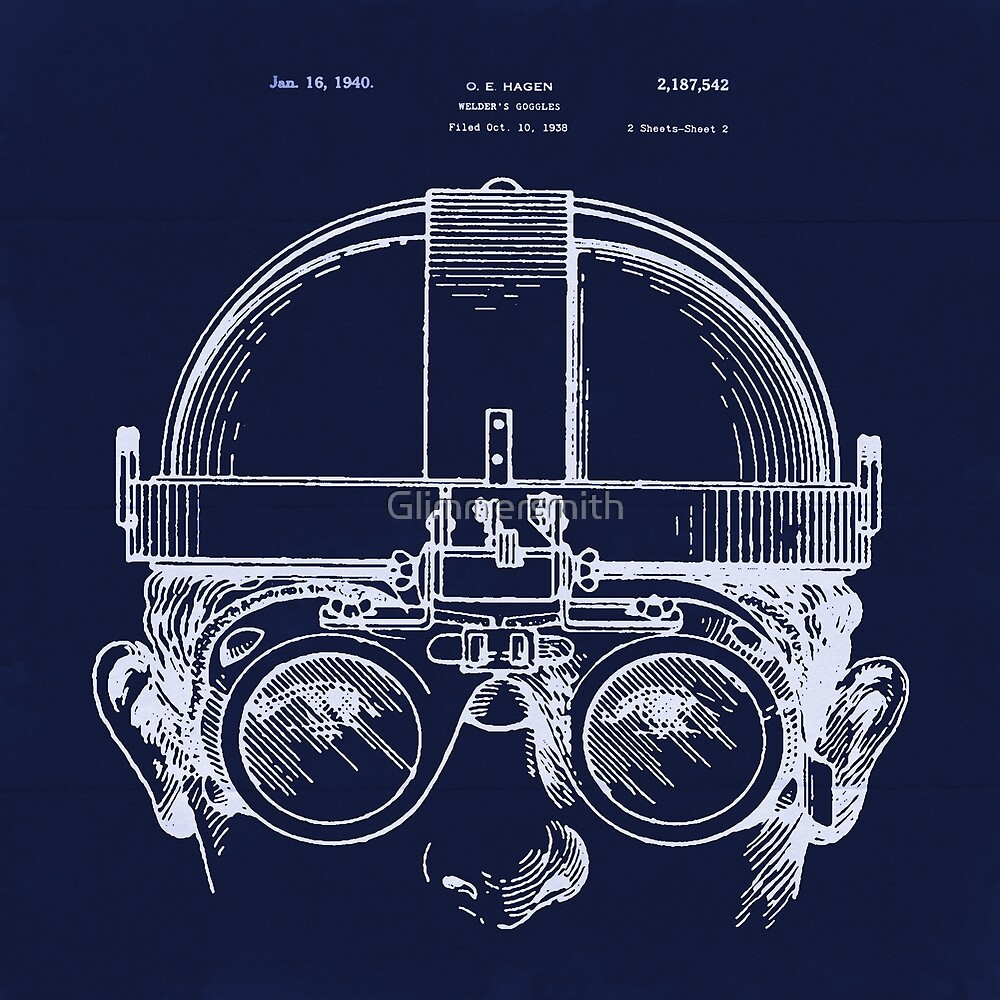 Vintage Welders Goggles Steampunk blueprint detail drawing by Glimmersmith