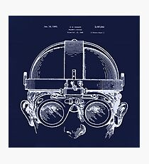 Vintage Welders Goggles Steampunk blueprint detail drawing Photographic Print