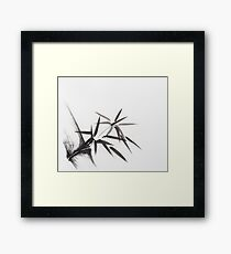 Bamboo stalk with leaves Japanese oriental Sumi-e Zen painting art print Framed Print