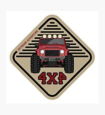 Red offroad car truck 4x4 Photographic Print