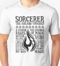 SORCERER, The Arcane-Touched - Dungeons & Dragons (Black Text) T-Shirt