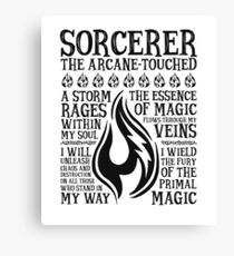 SORCERER, The Arcane-Touched - Dungeons & Dragons (Black Text) Canvas Print